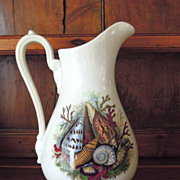 SALE Antique English White Footed Jug with Beautiful Shell Design