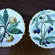 SALE Pair of Vintage French Plates with Fruit Designs