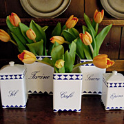 SALE Vintage Set of Five French Canisters in Blue & White
