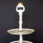 SALE 19th Century French Limoge Hand Painted Petit Four, Cake Stand, Serving Piece