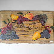 SALE Vintage Farmers Market Fruit Hand Painted Sign