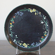 A Vintage  Round Hand Painted Paper Mache Tray with Flowers & Strawberries