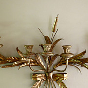 Vintage Italian Tole Wall Sconce with Flowers, Leaves & Cat Tails