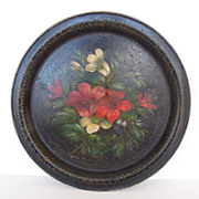 Round Black Tray with Hand Painted Flowers, England