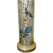 Vintage Decoupage Reverse Glass Lamp ca 1940