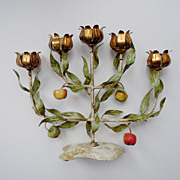 SALE Vintage Italian Tole Espaliered Apple Tree Candelabra with Gilt Candle Cups