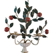 Vintage Italian Sconce, Urn with Apple Tree Branches