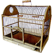 SALE Antique Wood and Wire Bird Cage