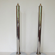 SALE Pair of Rare Mid-Century Modern 1930's Chrome Candle Holders, Art Deco, Candlesticks