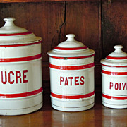 SALE Vintage French Enamelware Canister Set in Red & White