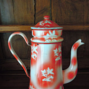Vintage French Coffee Pot with White & Red Flower Design