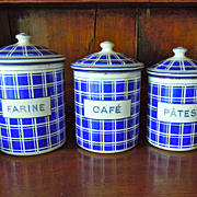 SALE Set of 3 Vintage French Enamelware Canisters
