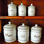 SALE Set of Five White Vintage French Enamelware Canisters