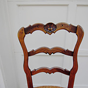 SALE Set of Six Vintage French Carved Ladder Back Chairs with Rush Seats