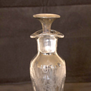 SALE 19 Century Glass Oil & Vinegar Cruet with Silver Stopper