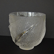 SALE Lalique Glass Bowl, France, French, Feathers