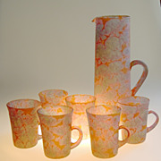 Reuven Art Glass Pitcher, Jug with 6 Glass Cups, Orange, Turquoise, Pink, 1970