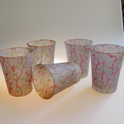 Set of Five Reuven Art Glass Cups in Purple, Green and Yellow, 1970