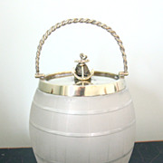 SALE Antique English Glass Biscuit Barrel with Rope & Anchor, Nautical