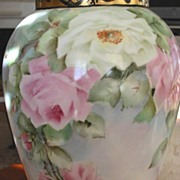 Antique Limoges France Hand Painted Large Vase Pastel Roses