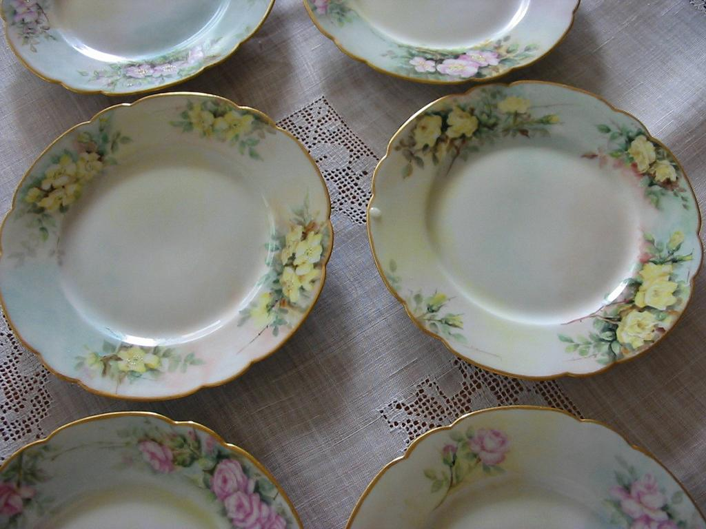 Six Gorgeous Antique Limoges Dessert Plates ~ Roses ~