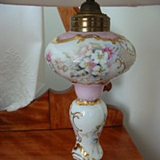 Unusual  Limoges France Hand Painted oil lamp Signed and dated.