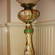 Very Ornate Royal Vienna Hand Painted Portrait Oil Lamp~Cherubs~Gorgeous~