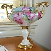 SOLD Ornate Antique American Belleek Handled URN~Roses~Museum Quality~