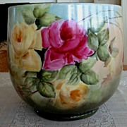 Antique Limoges France Hand Painted French Jardiniere ~Roses~ Ca. 1890's