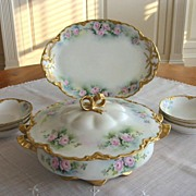 Spectacular Antique Haviland Limoges Ornate Dessert - Ice Cream Set ~ Roses~with Covered Serve
