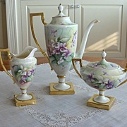 Magnificent Antique Belleek Coffee/Tea Set Hand Painted ~Violets~