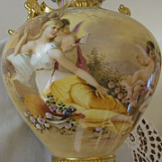 Fantastic Antique Limoges - Royal Vienna- Portrait Vase Hand Painted ~Woman~Cherubs~Roses~ Urn