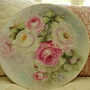 Limoges France Hand Painted Porcelain Plaque - Charger - ~Roses~