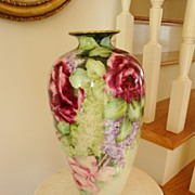 American Belleek HUGE Porcelain Hand Painted Tall Vase Roses with Lilacs
