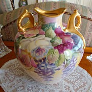 American Belleek Lenox Marked Gorgeous Vase Ornate Handles~Roses!~ Wisteria~