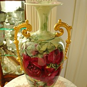 SOLD Antique American Belleek Porcelain Hand Painted Handled Vase Roses