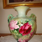 SOLD Belleek Ceramic Art Company Cherub Face Handle Vase ~Gorgeous Roses~