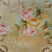 Limoges France Antique Hand Painted Porcelain French Plaque Tray Pastel Victorian Roses