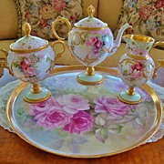 SOLD Limoges France Hand Painted Antique Tea Set ~Roses~ Artist signed and dated 1901