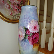 "Incredible Antique Limoges France HUGE Floor Vase 22"" tall with Roses"