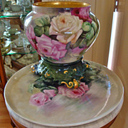 Antique Limoges France Porcelain Jardiniere with Ornate base Hand Painted ~ Roses~