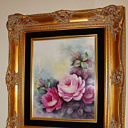 Amazing Spectacular Antique Limoges France Porcelain Framed Plaque Roses
