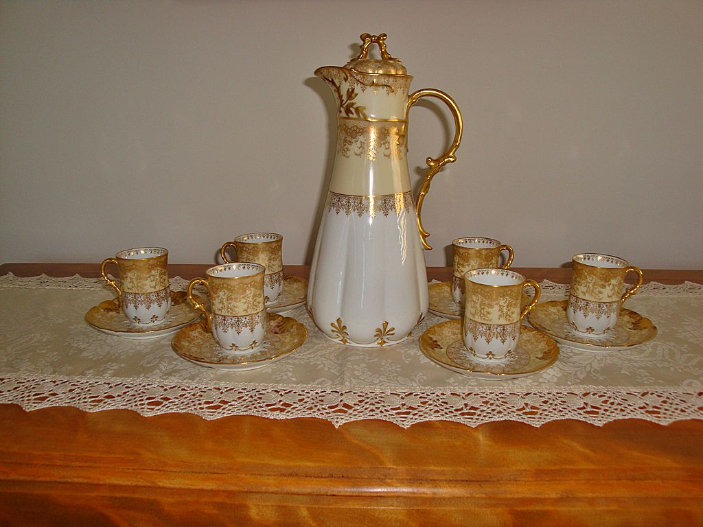 Amazing Antique Limoges France Hand Painted Porcelain Chocolate Set ~Gold~