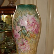 Antique Limoges France Hand Painted Large Porcelain Vase ~Roses~