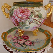 Antique Limoges France Jardiniere Huge Rich Roman Gold Handles Hand Painted Roses