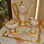 Spectacular Antique Belleek Porcelain Tea Set - Coffee Set~Creamer~Sugar~ Hand Painted ~Roses~