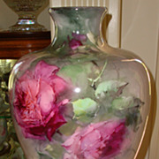 SOLD Antique Belleek Huge Vase Hand Painted Roses Biscoff or Aulich style Ca. 1890's