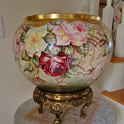 Spectacular 19th Century Hand Painted European Porcelain  HUGE Jardiniere with Base Gorgeous .