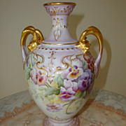 SOLD Antique Limoges France Hand Painted 19th Centruy Vase Gorgeous ~Pansies~ Ornate Dolphin H