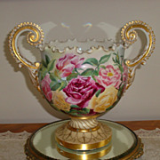 Antique Belleek Porcelain Hand Painted Ornate Jardiniere Urn Vase 19th Centruy Artist Signed G